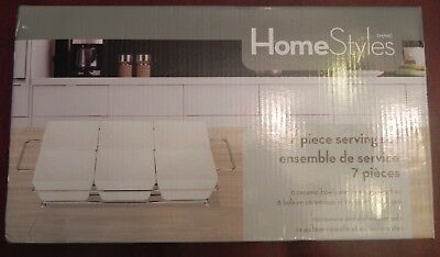 Deep Dish, HomeStyles 7 Piece Serving Set with Wire Serving Tray - New In Box