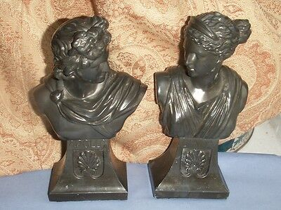 Old Antique Spelter Metal Apollo Diana Roman Classical Busts c.1910 Book Ends