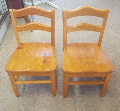 2 Vtg. Child's Oak Wood School Church Chairs Original Sturdy 23""
