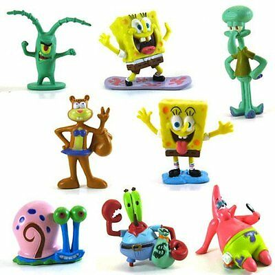 8X Spongebob Square Pants figures Patrick Bob cake topper Kid Toy Birthday Gift