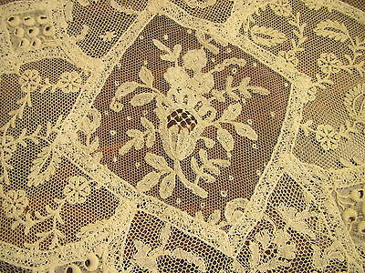 Antique Lace Doily Vintage French Normandy Handmade Net Embroidered Table Mat