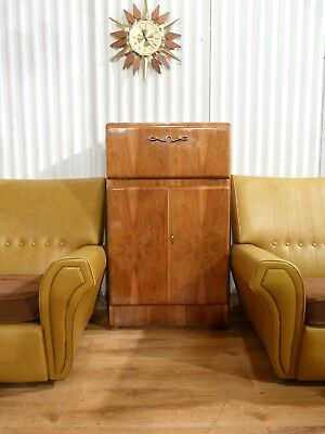 Lovely vintage Rivington art deco walnut veneer drinks cocktail cabinet