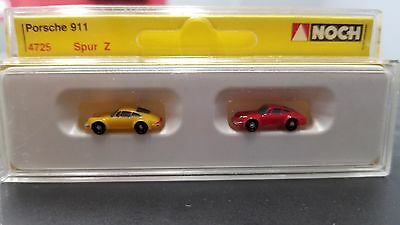 Vintage Preiser Noch Z Scale 1:220 Handpainted 4725 Model Car Porsche 911 2 Pc