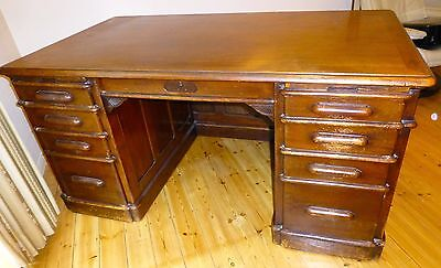 American Fully Panelled Antique Desk c1895 made by Indianapolis Cabinet Company