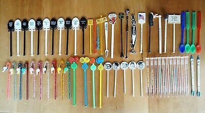 "61 ""FUN"" Vintage Swizzle Stir Sticks, ALL different, great for your next party!"