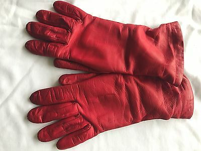Red Leather Cashmere Lined Gloves Women's size 7.5