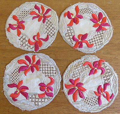 Antique Doilies Doily Coasters Linen Lace Society Silk Hand Embroidered Flowers