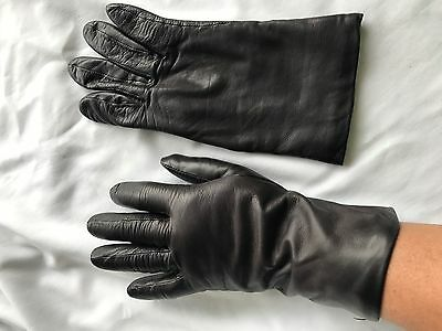 Fownes Black Leather Cashmere Lined Gloves Women's size 7.5