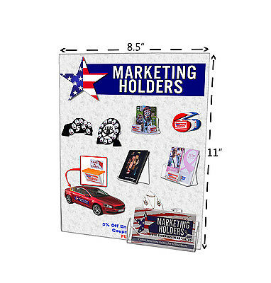 Wall Mount Sign Holder Combo No Hole for 8.5'' x 11'' & Business Card Holder Qty