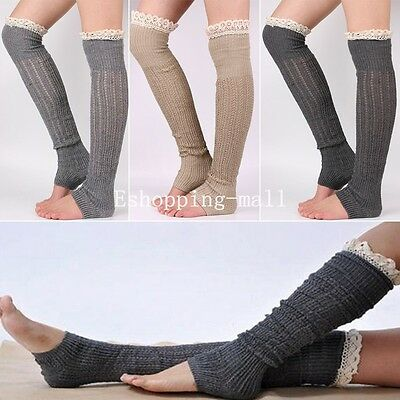 Womens Winter Warm Leg Warmers Knitted Over The Knee Lace Socks Leggings