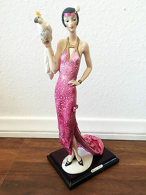 """Giuseppe Armani Florence LADY WITH PARROT 393C Retired 13"""" Roaring 20's Style"""