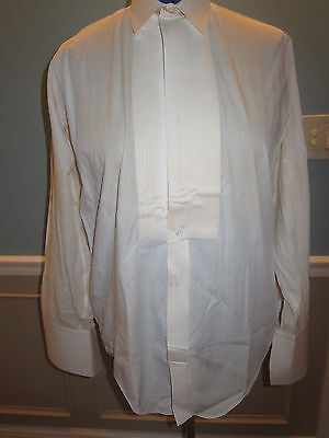 Vtg Edwardian VICTORIAN Mens THE TUX Pleated Front Dress Shirt Sz 15 French Cuff