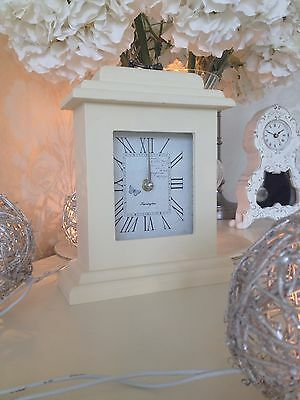 Shabby Country Chic French Cream Classic Vintage Mantel Clock Butterfly 24cm