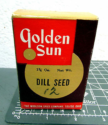 Vintage Golden Sun Dill Seed 1 3/4 oz spice box, Great Logo & graphics