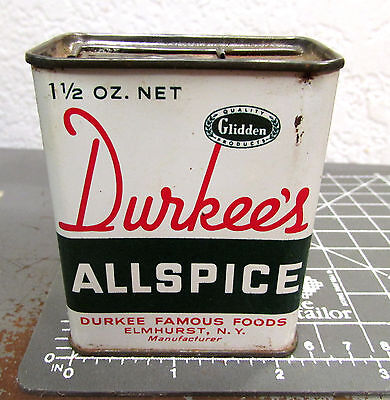 Vintage Durkees ALLSPICE 1 1/2 oz spice tin, Great Logo & graphics