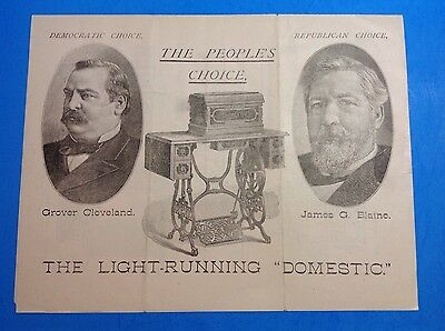 Domestic Sewing Machine Pamphlet, Grover Cleveland & James Blaine (17aug1-41)