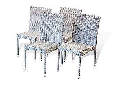 Set of 4 Outdoor Patio Dining Side Chair Resin Rattan Wicker Color Gray