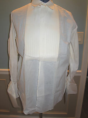 Vtg LION of TROY Mens Pleated Formal Tuxedo  Shirt Sz 15 French Cuff