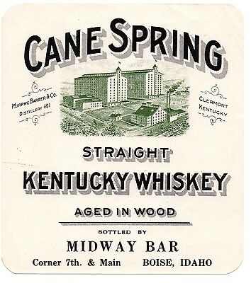 1900 Murphy, Barber & Co Distillery, Clermont Kentucky Cane Spring Whiskey Label