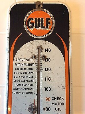 Gulf enamel  thermometer sign, original gas oil 1940's