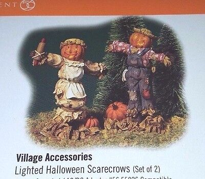 Dept. 56 Scarecrow Set of 2 55026 General Village Accessory lighted Halloween