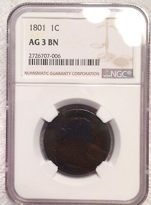 1801  Large Cent Three Errors Reverse Variety NGC No Problem Coin.