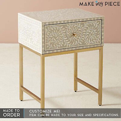 MADE TO ORDER MAAYA Bone Inlay 1 Drawers Small Chest Bedside Lamp Sidetable Grey