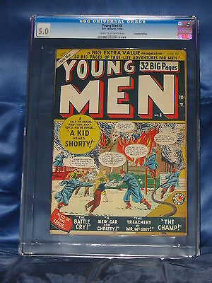 Young Men #4 (#1) Cgc 5.0 Atlas Comics 1950 Bell Features Canadian Version Rare!