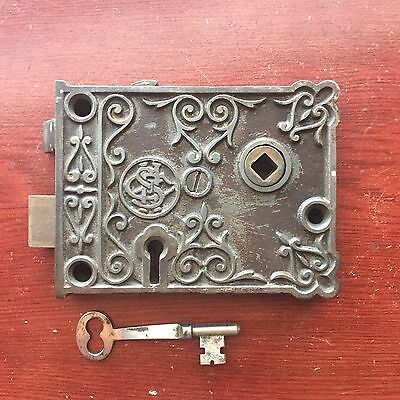 Antique CSH Victorian Eastlake Era Decorative Cast Iron Rim Lock  & Skeleton Key