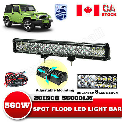 20inch 560W COMBO LED Work Light Bar Offroad Driving Lamp SUV Car 4WD vs 22'' 24