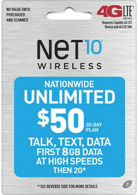 $50 NET10 Talk, Text, 8GB NATIONWIDE UNLIMITED *fast refill