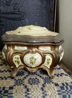 Vintage Hand-painted Gold Tone Metal Music Box Jewelry Velvet Made In Italy