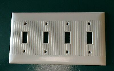 Vintage Sierra Bakelite Ribbed Quadruple 4 Light Switch Plate Wall Cover Ivory
