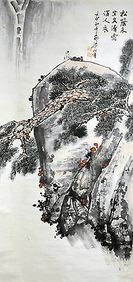 """Vintage Chinese Watercolor """"Pine Tree on Cliff"""" Wall Hanging Scroll Painting"""