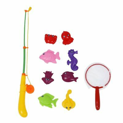 Magnetic Fishing Game Toy Makes Kids Bath Time Fun Rod Fish Net 10 in 1 C1J1