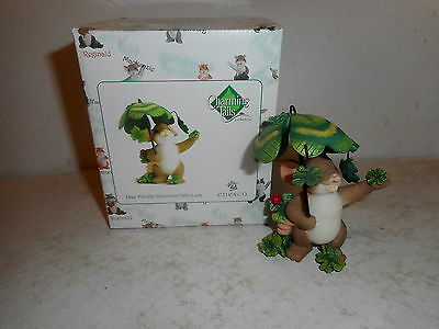 "Enesco Charming Tails - ""May You Be Showered With Luck"" Figurine w/ Box #4030943"