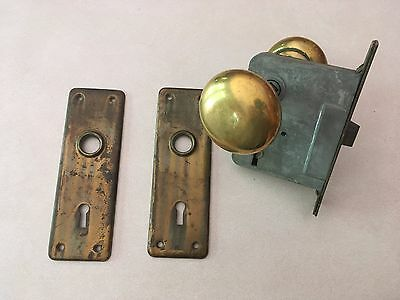 Used Antique Brass Door Knobs and Backing Plates w locking mechanism
