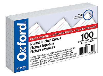 """Oxford Heavy Weight Index Cards 63500, 3"""" x 5"""", Ruled, White, 100/Pack"""
