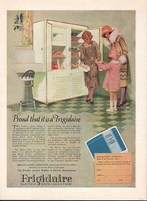 1926 Frigidaire Fred Mizen Fridge Kitchen Food Cook Ad 9646