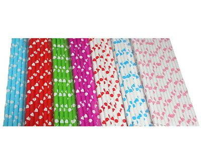 25pc 6mm Disposable Cute Heart Paper Straw Drinking For Wedding Birthday Party