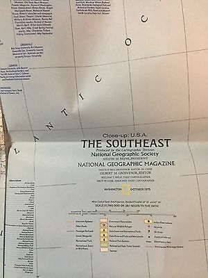 National Geographic Map Southeast U.s.a.  1975