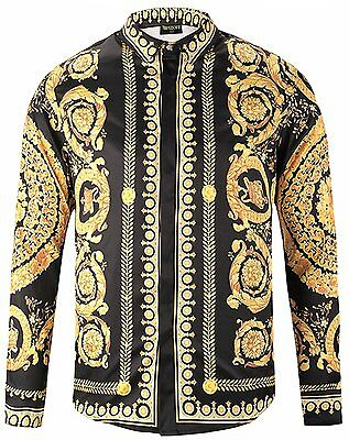 Pizoff Mens Hipster Long Sleeve Luxury Design Gold Round Floral Print Button