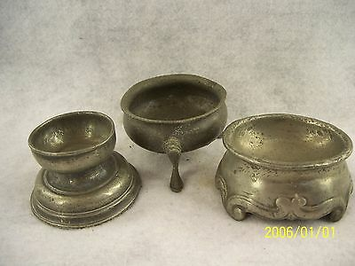 Three Antique Pewter Open Salt Dishes -18th & 19th Century