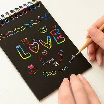 Rainbow Kids Kit Scratch Art Magique Dessin Peinture Papier Carnet Gracieuse