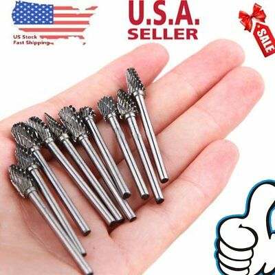 "10PCS Tungsten Carbide Rotary Burr Drill Bits Set Cutter Cut 3mm 1/8"" Shank SG"