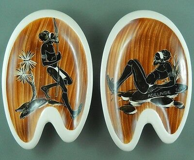 Florenz Pair Of Dishes Hand Painted 60s Aboriginal Australian Made