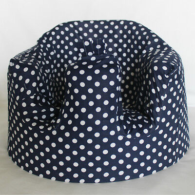 *NEW DESIGN'  Bumbo 100% Cotton Seat Cover with harness slots 'Navy Polkadot'