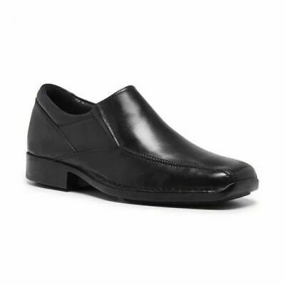 Mens Hush Puppies Prestige Extra Wide Men's Black Leather Work Slip On Shoes