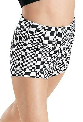 NEW gymnastic WOMENS DANCE Small Adult black and White high waisted SHORTS