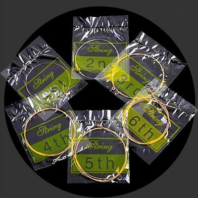 NEW Set of 6 Bronze Steel Strings For Acoustic Guitar